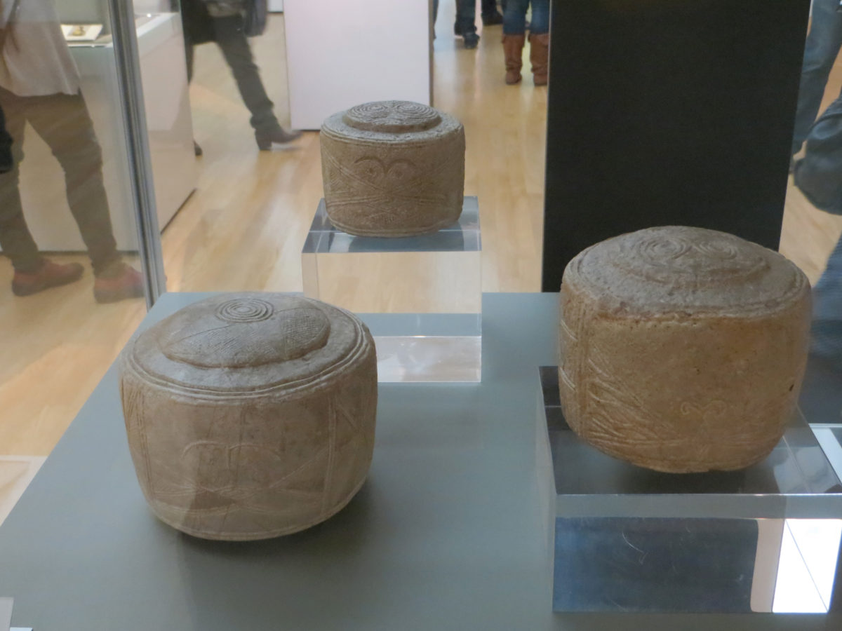 Prehistoric Folkton Drums in the British Museum.