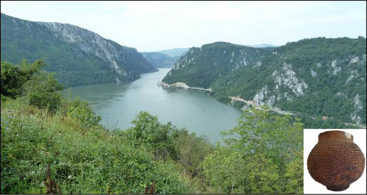 This is image shows the Iron Gates gorges (image C. Bonsall) and, inset, a reconstructed Starčevo pot (image M. Todera). Credit: The Iron Gates gorges (image C. Bonsall) and, inset, a reconstructed Starčevo pot (image M. Todera)