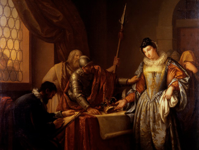 The Abdication of Mary, Queen of Scots by Gavin Hamilton (1723-1798)held in The Hunterian's Collection.