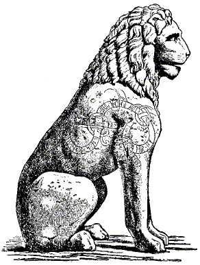 Piraeus Lion drawing of curved lindworm inscription (shoulder/flank).