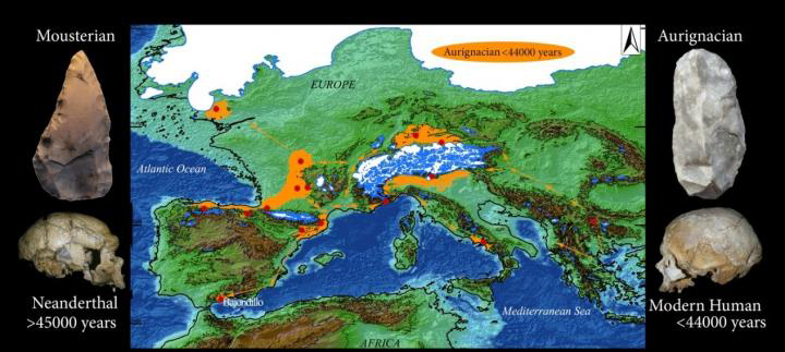 Selected archaeological sites in Western Europe with Aurignacian industries actually or potentially older than 42,000 years. Credit: University of Seville