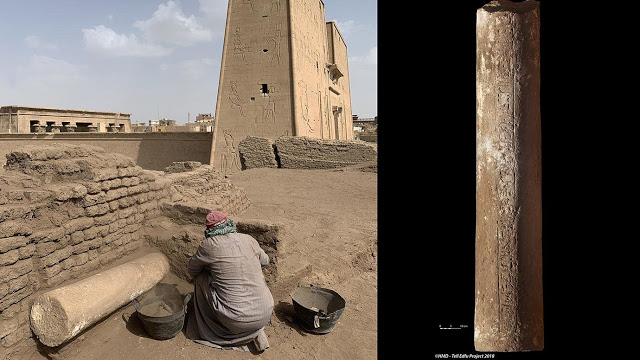 A view of the column area under excavation (left) and the sandstone column inscribed with the name of the high priest  of the temple of Horus, Amenmose (right). Credit: GM and HMD - Tell Edfu Project 2018.