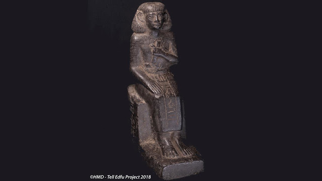 Statuette of the seated scribe of the province of Edfu. Credit: GM and HMD - Tell Edfu Project 2018.