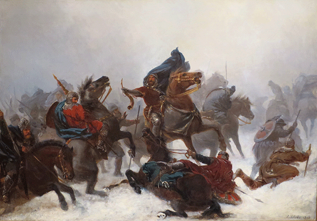 "KING SVERRE: ""King Sverre's march over the Vosse mountains"" by Peter Nicolai Arbo (1862). Sverre was King of Norway from 1184 to 1202. Picture: Wikimedia Commons"