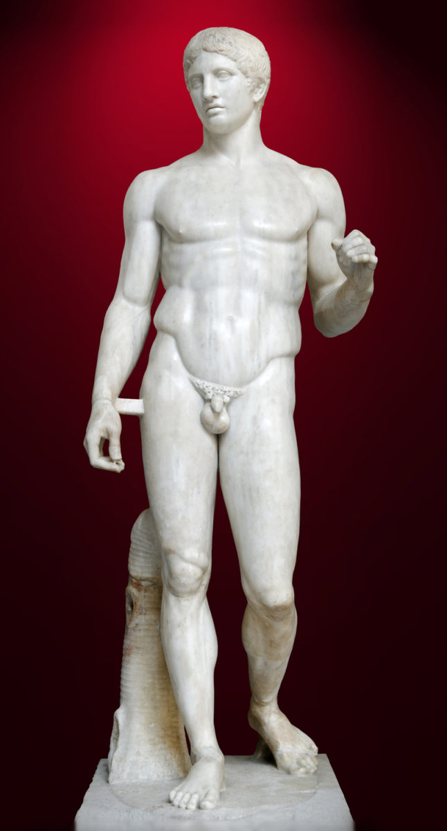 A well-preserved Roman period copy of the Doryphoros of Polykleitos in the Naples National Archaeological Museum. Material: marble. Height: 2.12 metres (6 feet 11 inches).