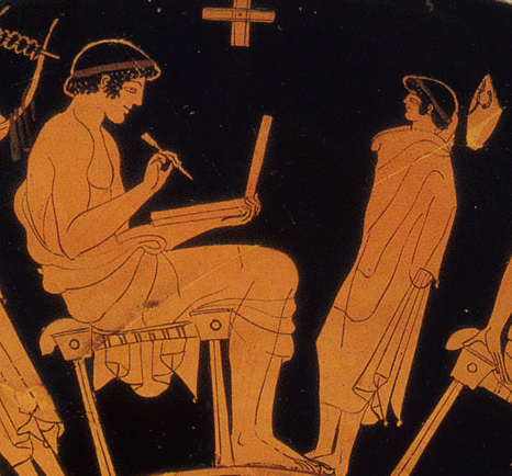 Detail from Douris's 'school cup', Attic red-figure, early 5th c. Staatliche Museen zu Berlin.