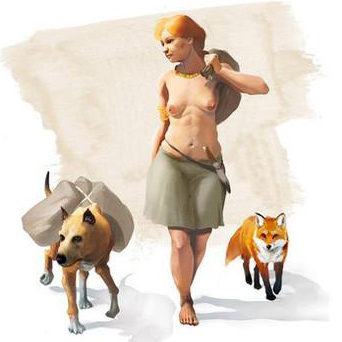 Artistic representation of a woman of the Bronze Age accompanied by a dog and a fox.