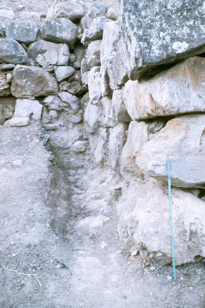 """The impressive, """"cyclopian"""" protopalatial wall of Petras,in Siteia (from the archives of the Petras excavation). Its surviving height is considerably over 2m."""