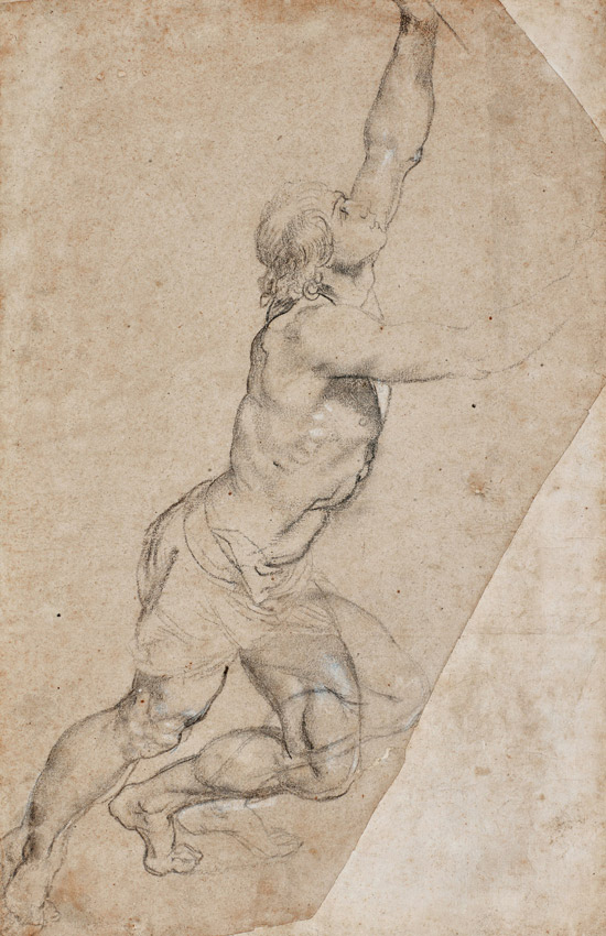 Drawing by Rubens, owned by the Dutch royal family, depicting a young man with arms raised.