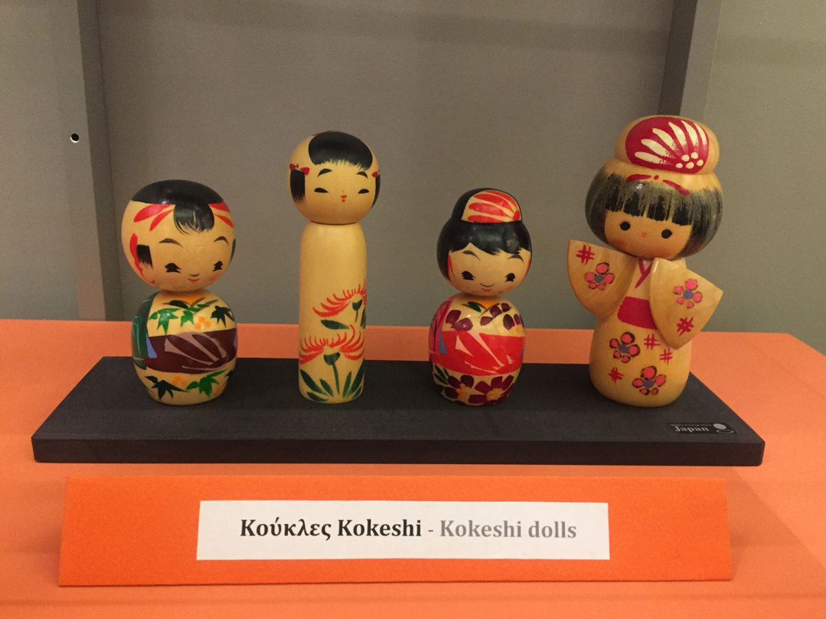 Kokeshi dolls from the exhibition of Japanese Traditional Dolls and Toys, at the Benaki Toy Museum.