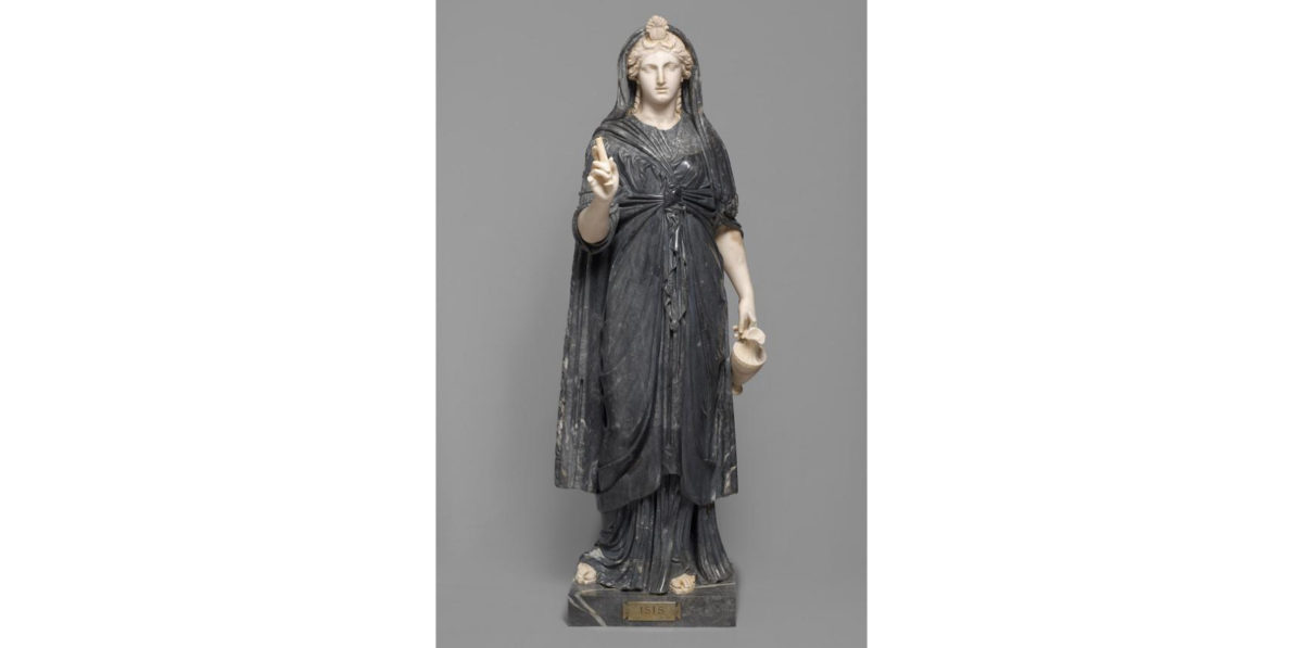 Ancient Roman statue of Isis, in the Collection of Greek and Roman Antiquities in the Kunsthistorisches Museum, Vienna. First half of the 2nd century, found in Naples, Italy.