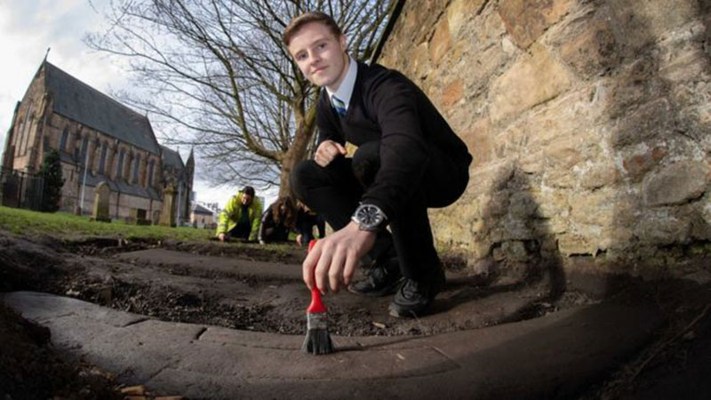 A14-year-old schoolboy found one of the stones at Govan Old Parish Church, which led to the discovery of two more sculpted gravestones. Photo Credit: Martin Shields/ BBC.