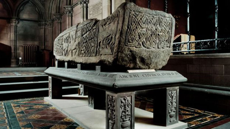 The Govan Stones include a sarcophagus. Photo Credit: Tom Manley/BBC.