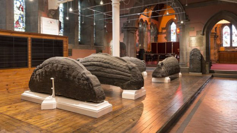 The collection of ornately-carved stones are from the Viking Age. Photo Credit: Tom Manley/BBC.