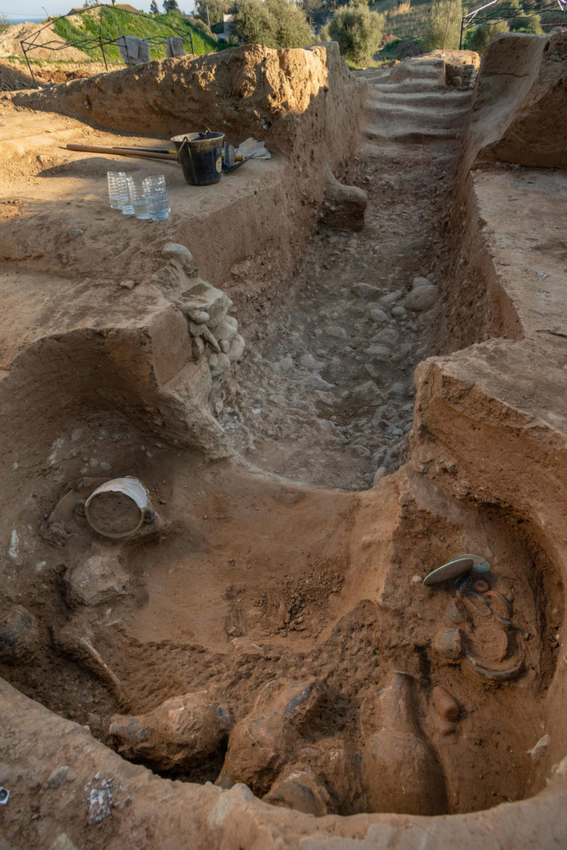 Uncovering the Etruscan tomb and hypogeum. Photo Credit: Inrap.
