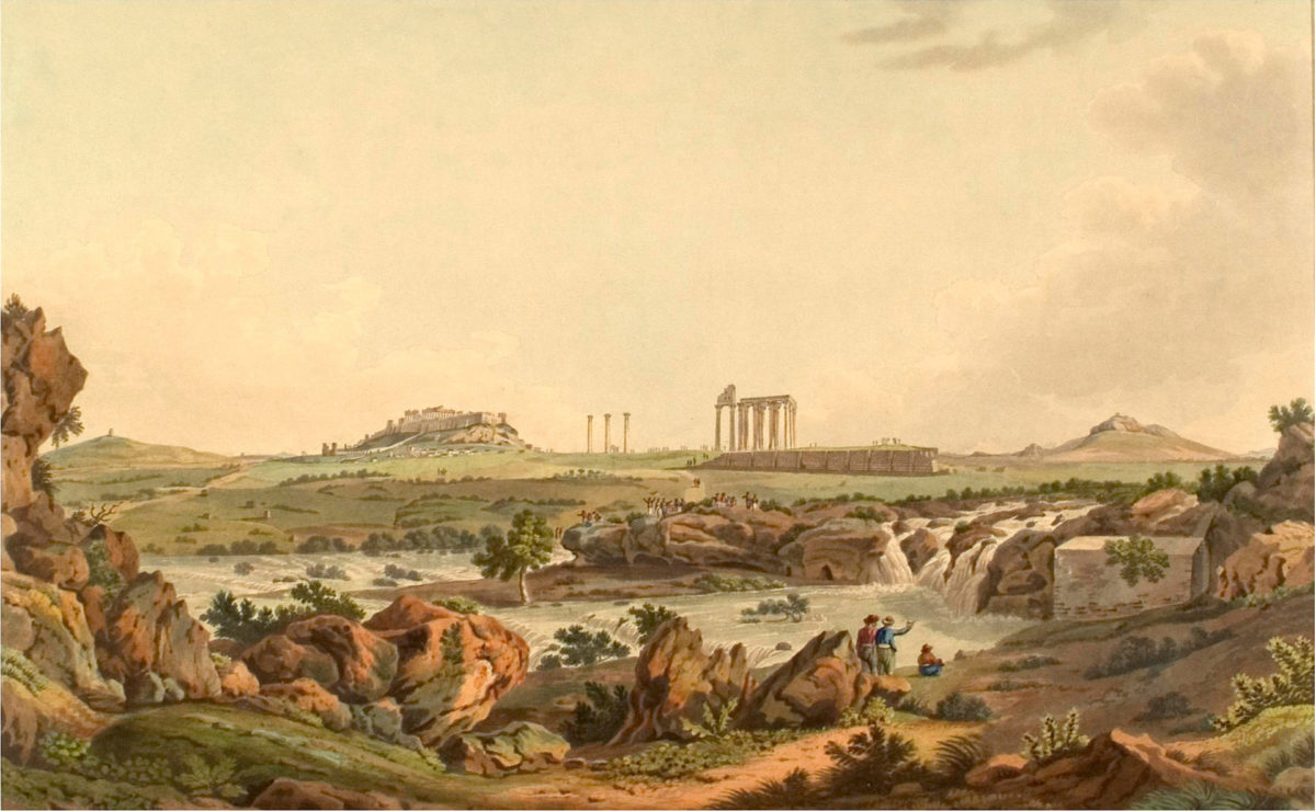 The temple of Olympian Zeus and the Ilissos River. Edward Dodwell, «Views in Greece», London 1821. Photo: Wikipedia.
