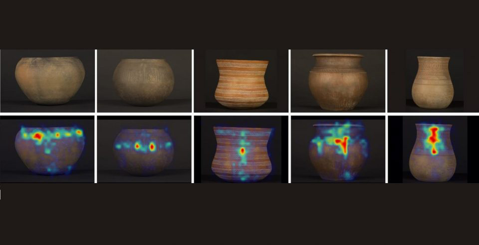 Main ceramics analyzed in the experiments and heatmap of the visual fixations in each one of them. The images are organized, from left to right, in chronological order from oldest to most recent. Following time, the fixations direction changes from horizontal to vertical. CREDIT CSIC USAGE RESTRICTI