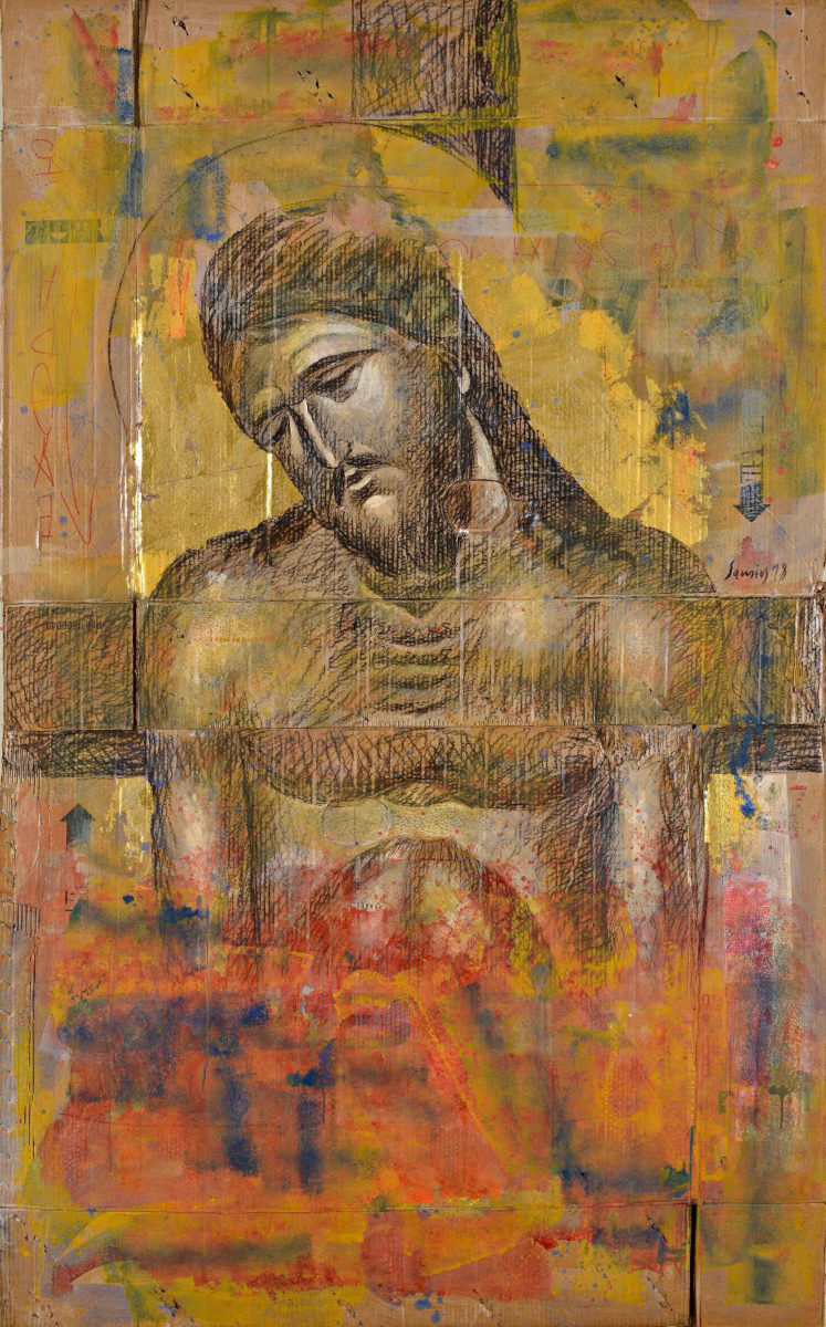 "Pavlos Samios, ""Christ's Humiliation″,  charcoal and acrylic on gold cardboard."