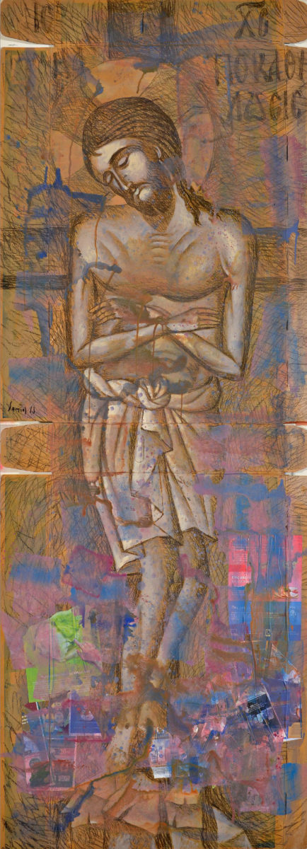 "Pavlos Samios ""The Descent from the Cross″, charcoal and acrylic on cardboard."