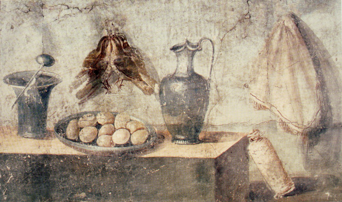 Still Life with Eggs and Game: A wall painting from the House of Julia Felix.