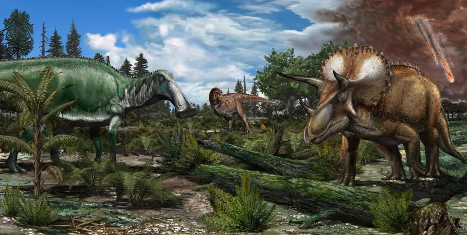 Reconstruction of a late Maastrichtian (~66 million years ago) palaeoenvironment in North America, where a floodplain is roamed by dinosaurs like Tyrannosaurus rex, Edmontosaurus and Triceratops. Credit: Davide Bonadonna