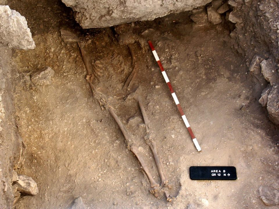 This is the burial of a 15,000 year old Anatolian hunter-gatherer. Credit: Douglas Baird