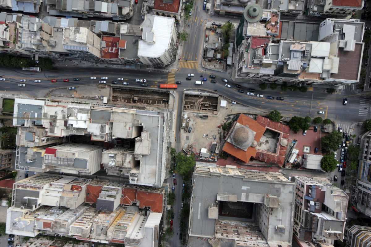 """View of the excavation at the """"Venizelos″ Station in Thessaloniki (Photo: Athens and Macedonian News Agency)"""