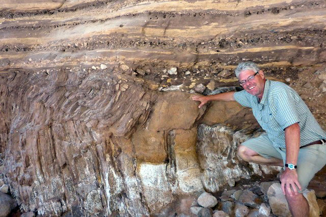Brian Pratt in the Burgess Shale. Credit: University of Saskatchewan.