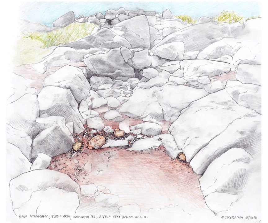 Vathy on Astypalaia: north coast. Pithos burials in situ. Drawing by N. Sepentzoglou.