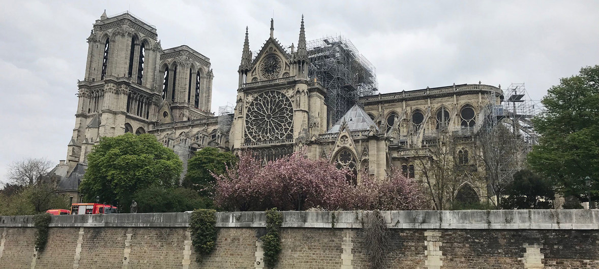 Notre-Dame cathedral after the fire in Paris. Sections of the cathedral were under scaffolding as part of extensive renovations. Credit: UNESCO/George Papagiannis.