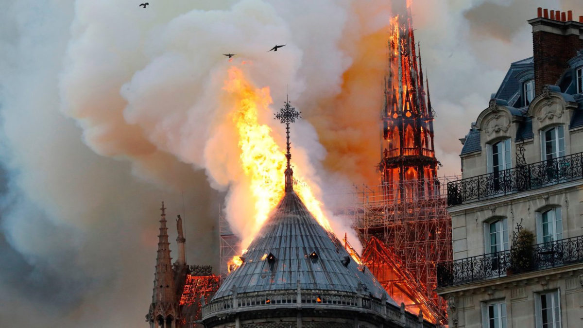 The fire, which burned for several hours on Monday, caused the collapse of the cathedral's iconic spire and the destruction of its roof structure, which dated back to the 13th century.