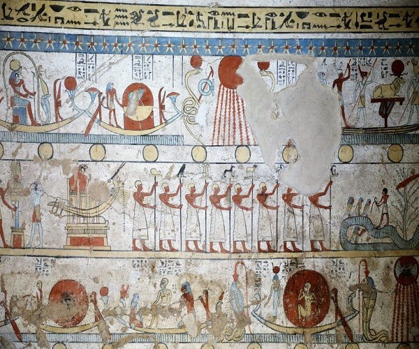 Wall paintings inside the tomb found near Sohag.