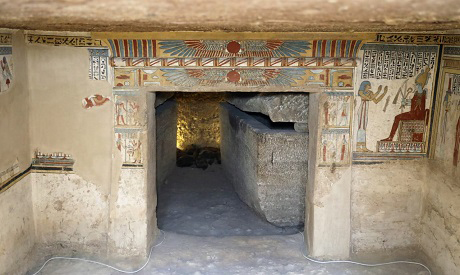 The tomb consists of a central lobby and a burial room with two limestone sarcophagi. The lobby is divided in two.