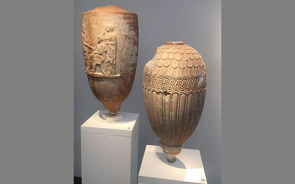 The two 4th century BC marble vessels – a funerary lekythos and a loutrophoros – have traveled across four countries, changing hands dozens of times between mediators, merchants, art collectors and even police authorities. Photo Credit: EKathimerini.