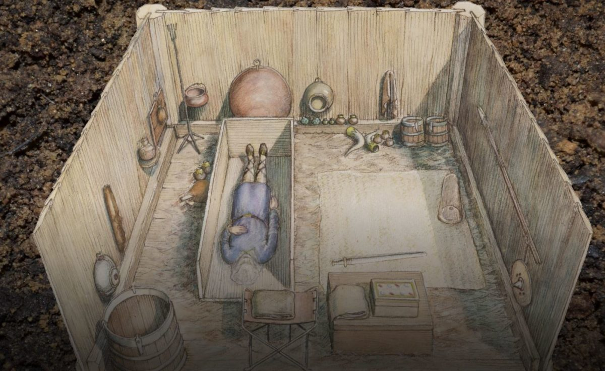 A reconstruction drawing of the Prittlewell princely burial chamber based on painstaking research(c) MOLA by HeritageDaily