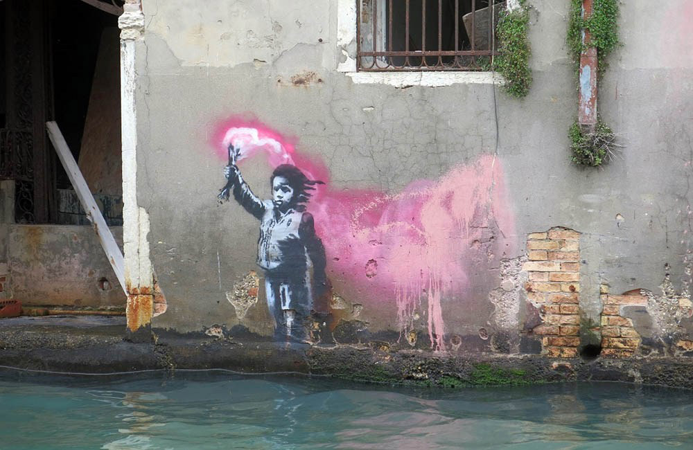 The graffiti in Venice attributed to Banksy.