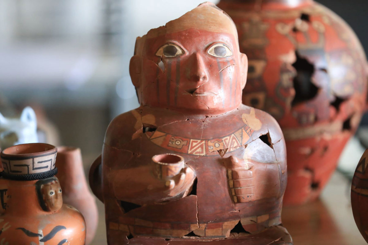 As is indicated by the figures the ceramics bear they are similar to those in the iconography of the Nazca culture. Photo Credit: Andina.