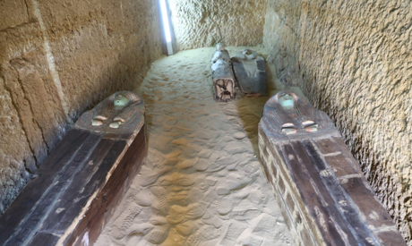 The sarcophagi within the tomb.