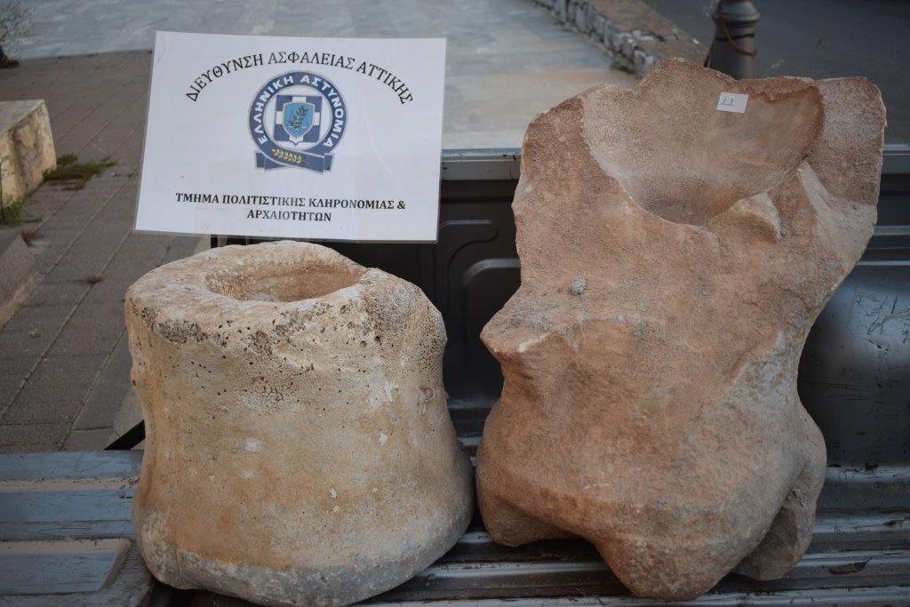 The antiquities illegally appropriated by a 65-year-old man in Laconia (photo: Hellenic Police).