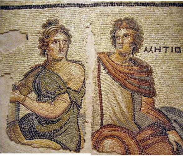 Metiochus and Parthenope Mosaic in Gaziantep Zeugma Mosaic Museum.