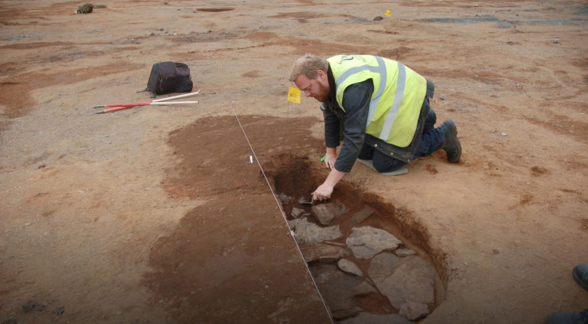 Excavation of one of the Roman ovens at Ayr Academy © GUARD Archaeology Ltd
