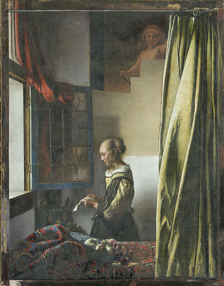 Johannes Vermeer, Girl Reading a Letter at an Open Window, current intermediate state of restoration, May 7, 2019. Gemäldegalerie Alte Meister