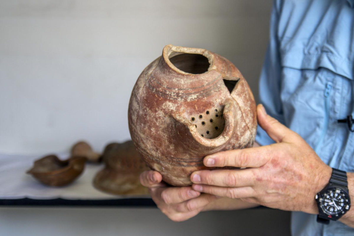 Beer cruse from Tel Tzafit/Gath archaeological digs, from which Philistine beer was produced. Credit: Yaniv Berman/Israel Antiquities Authority.