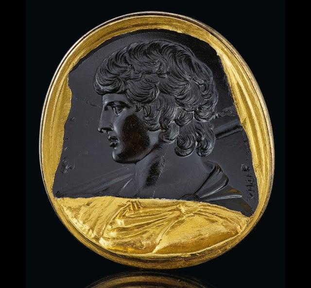 Roman black chalcedony intaglio portrait of Antinous, circa 130-138 AD. Credit: © 2019 Christie's Image Ltd.