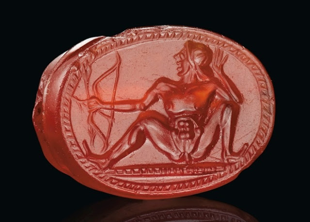 Greek carnelian scarab with a nude archer, Archaic Period, circa early 5th cent. BC. Credit: © 2019 Christie's Image Ltd