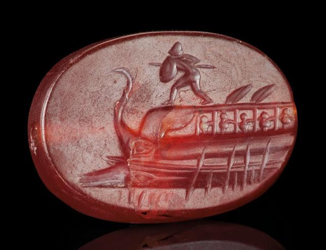 Greek carnelian scaraboid with Protesilaos, Classical Period, circa 4th cent. BC.  Credit: © 2019 Christie's Image Ltd.