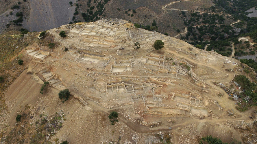 View of the excavations at the site of Azoria (Eastern Crete).