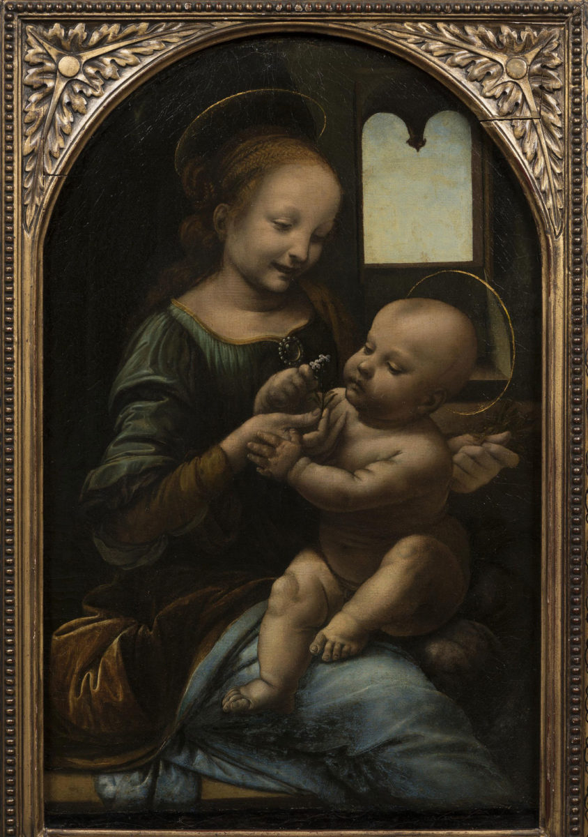 Benois Madonna without the frame. Photo Credit; Hermitage Museum / The History Blog.