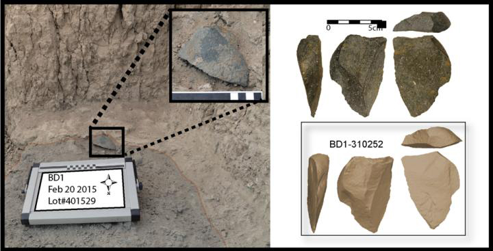 A large green artifact found in situ at the Bokol Dora site. Right: Image of the same artifact and a three dimensional model of the same artifact. Credit: David R. Braun