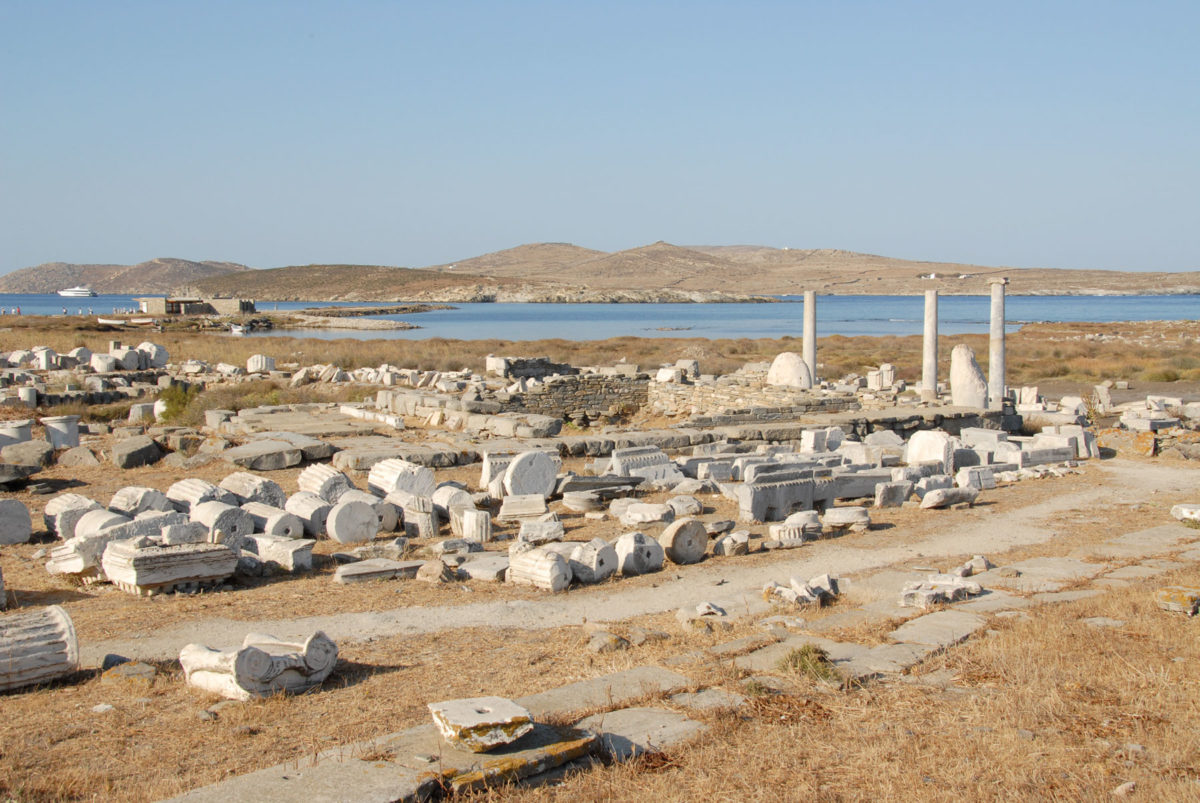 View of the Hellenistic temple of Artemis on Delos.